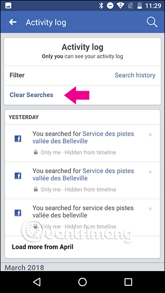Chọn Clear searches trên Android