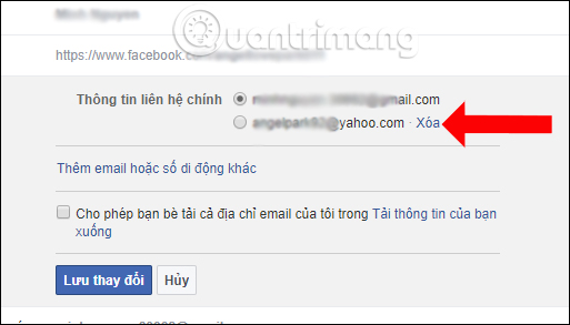 Gỡ email cũ Facebook