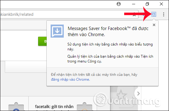 Thông báo của Messages Saver for Facebook
