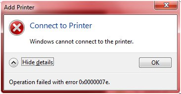 Windows Cannot Connect to This Printer